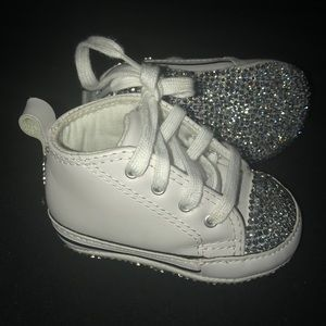 Leather Converse w/ Silver Stones
